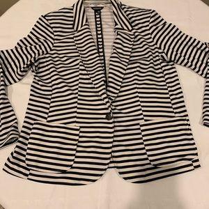 George XXL Black and White Striped Knit Blazer